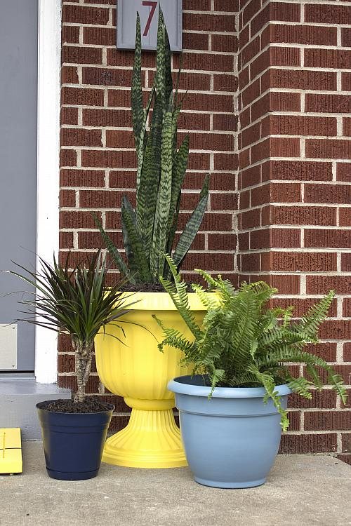Updated Blue and Yellow Planters