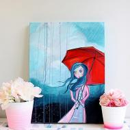 """Standing in the Rain"" Art Canvas"