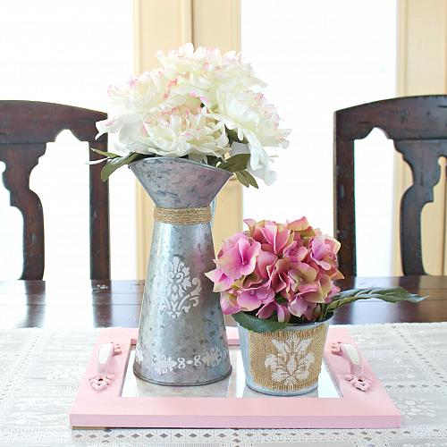 Spring Tray DIY with Floral Arrangement