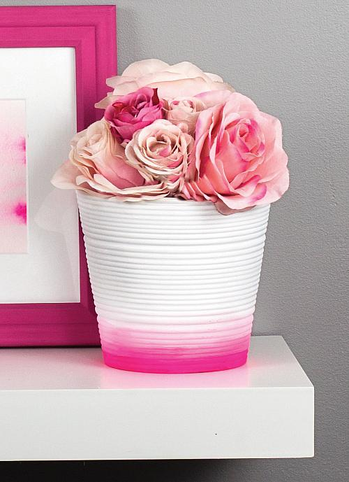 Pink and white ombre flower pots project by decoart mightylinksfo