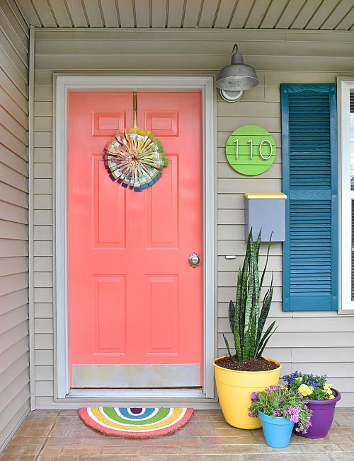 Coral Front Door with Curb Appeal - Project by DecoArt