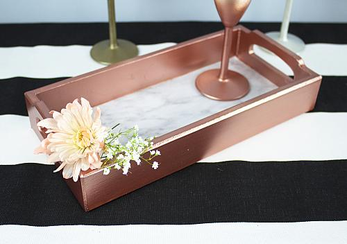 Elegant Rose Gold and Faux Marble Tray