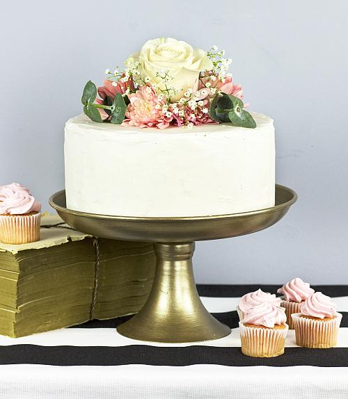 & Rich Champagne Gold Cake Plate - Project by DecoArt