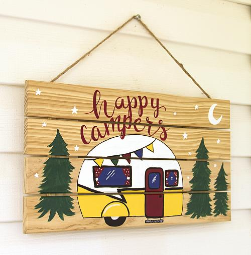 Happy Camper Painted Outdoor Sign