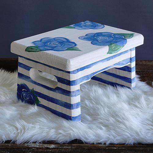 Floral Painted Step Stool Project By Decoart