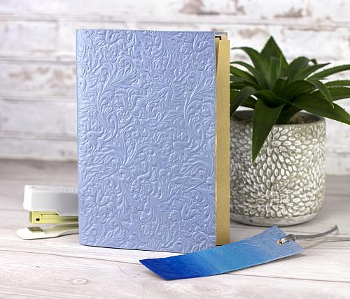Blue Leather Notebook and Bookmark