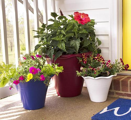 Patriotic Red, White, and Blue Summer Pots