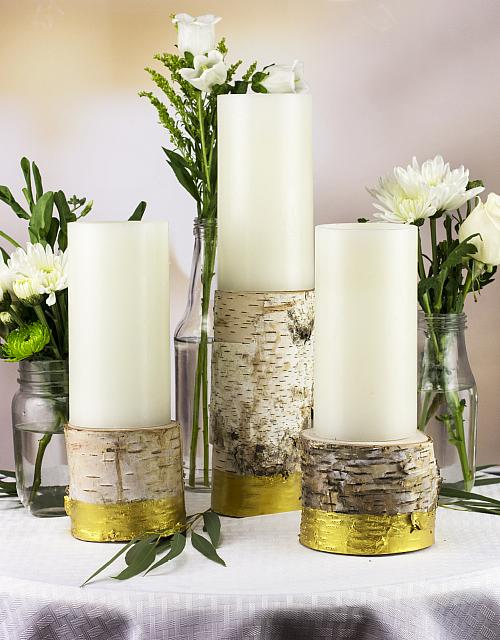Birch Metallic Gold Candle Holders
