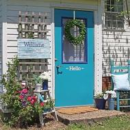 Stenciled Blue Door