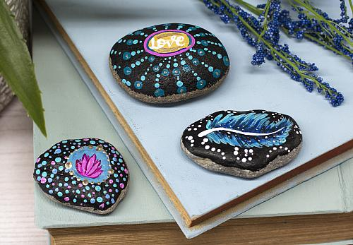 Boho Mandala Painted Rocks