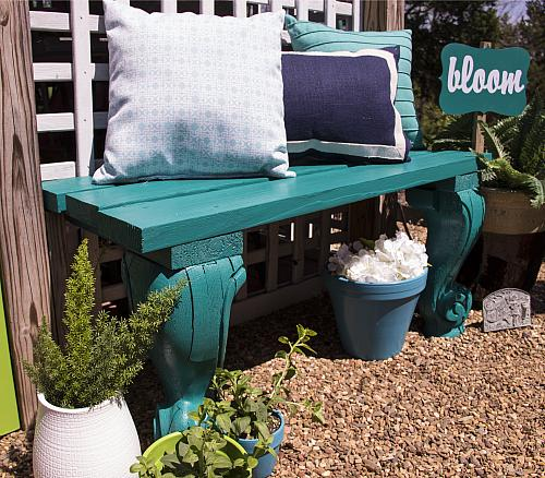 Turquoise Garden Bench Project By Decoart