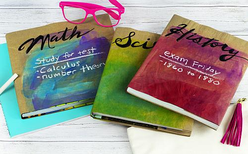 Back to School Watercolor Book Covers - Project by DecoArt