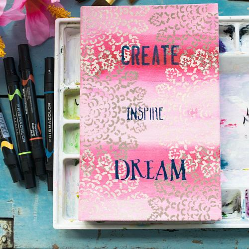 Painted Fabric Covered Notebook