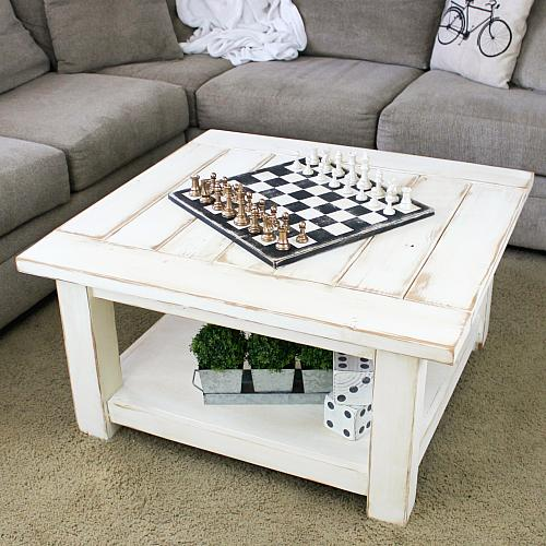 Cozy Farmhouse Coffee Table And Chessboard   Project By DecoArt