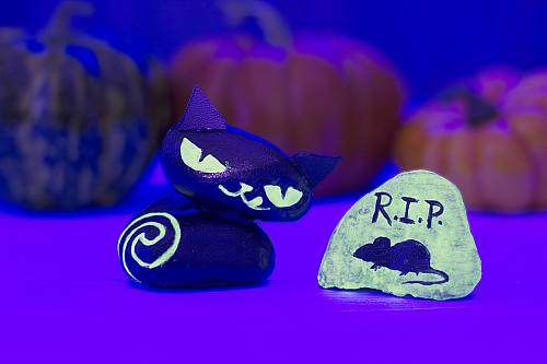 Glow In The Dark Halloween Cat Amp Mouse Rocks Project By