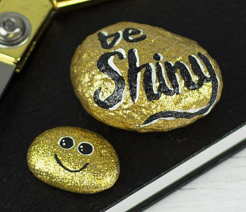 Glimmering Gold Painted Rock Project By Decoart