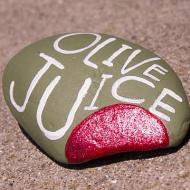 Olive Juice Painted Rock