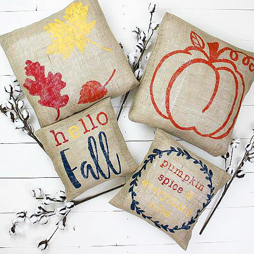 No Sew Burlap Fall Pillows Project By Decoart