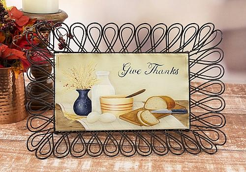 Give Thanks Wooden Bread Basket Bottom