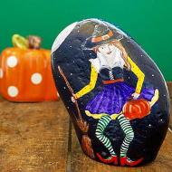 Witch Painted Halloween Rock