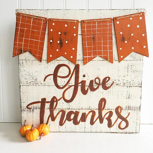 Give Thanks Chalky Finish Sign