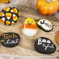Candy Corn Colored Halloween Rocks
