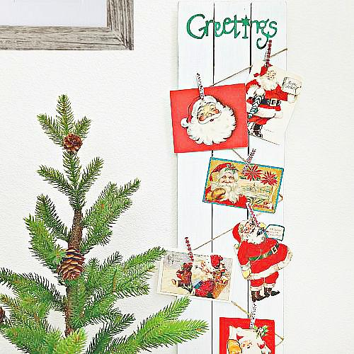 Greetings christmas card holder project by decoart for Christmas card holder craft project