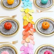 Rainbow Ombre Leaf Table Runner