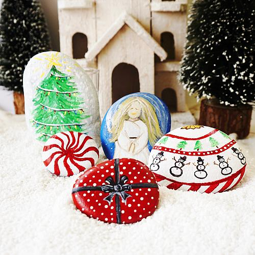 symbols of christmas painted rocks project by decoart