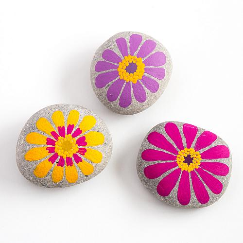 Brightly Painted Zinnia Flower Rocks