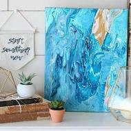 Blue & Gold Poured Canvas Art