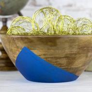 Painted Metallic Wooden Bowl