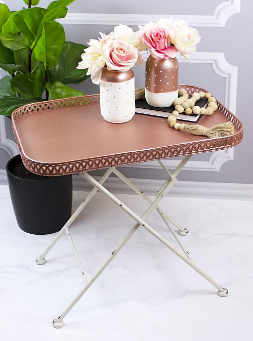 Rose Gold Tray and Polka Dotted Jar Set