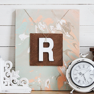 Abstract Canvas Art with Monogram