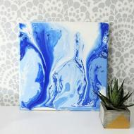 Blue Poured Canvas Art