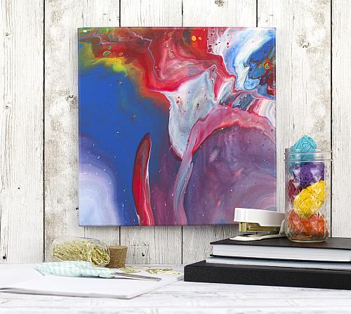 Primary Colors Poured Abstract Art