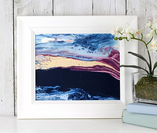 Seascape-Inspired Poured Canvas Art