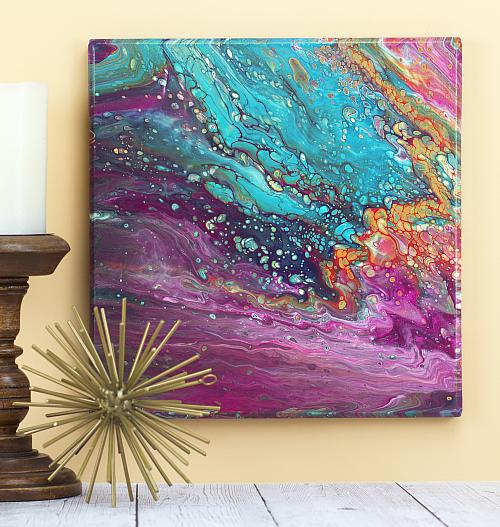 Gemstone-Inspired Poured Canvas Art