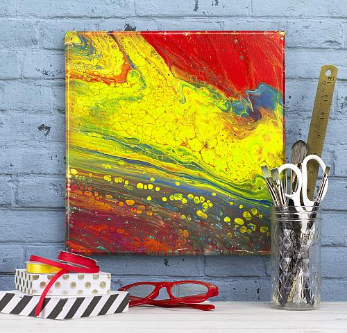 Celled Firestorm Poured Canvas Art