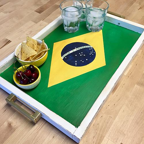 Chalky Finish  Country Flag Serving Tray