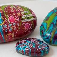 Paint Poured Mixed Media Rocks