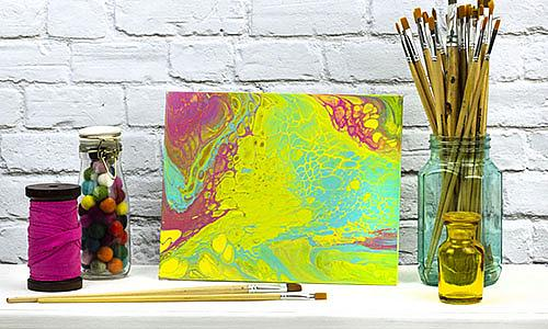 Bright-Colored Poured Paint Canvas