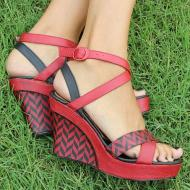 Red and Black Evening Sandals