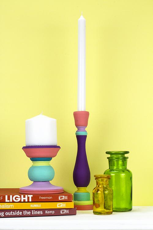 Colorful Boho-Inspired Candlesticks
