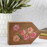 Painterly Flowers on Stained Wood