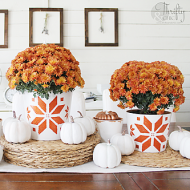 Stenciled Fall Planters