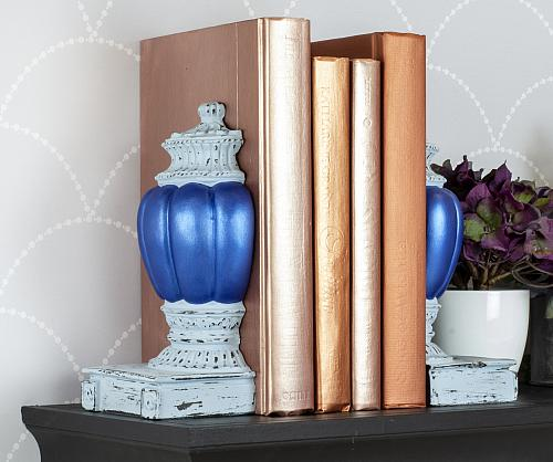 Distressed Bookends and Metallic Books