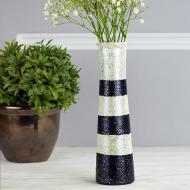 Black and White Glittered Vase
