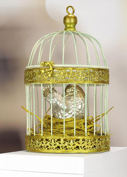 Gilded Cage and Ombre Bird Home Décor