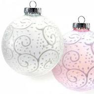 Pink & White Swirled Ornaments